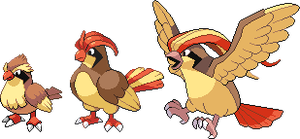 Pidgey, Pidgeotto and Pidgeot hi-res sprites