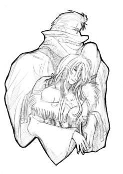 Auron and Lulu Outline by kyosei