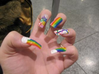 Rainbow Rides nails by TheDreamingArtist