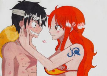 Luffy and Nami One Piece by Lucy-chan90