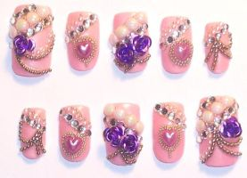 Pink and Purple Fancy Nails by The-Lady-of-Kuo