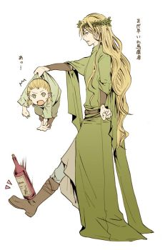 Thranduil and little Legolas by M-azuma