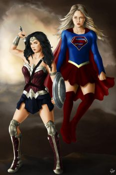 Wonder Woman and Supergirl - Commission by Guinzoo