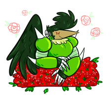 Rooster Raymond and his ROSE NEST by CarcinoAJ