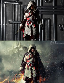 assassin's creed girl (before-after) by Stetsenko