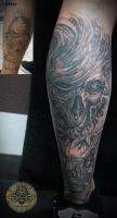 cover up bloody skull horror by 2Face-Tattoo