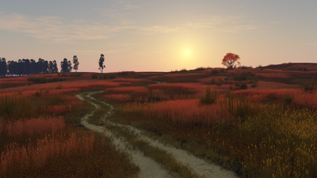 Old Dirt Road - Red Reeds by Zlain81