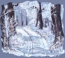 A Winter Forest by RedSaucers