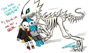 GB Dinosaur - UF! and US!Sans [Sketch / STREAM] by Jeyawue