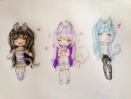Chibi Aphmau, Katelyn and Venus  by VIOLENTIA14
