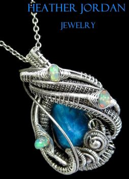 Cavansite and Opal Wire-Wrapped Pendant in SS by HeatherJordanJewelry