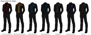 Starfleet '2409' Uniforms - Duty Uniforms (Open) by HaphazArtGeek