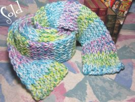 Super-Long Pastel Rainbow Scarf by SmilingMoonCreations