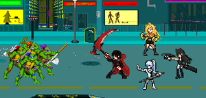 TMNT VS RWBY! Sprite Scene by rockeyrolley