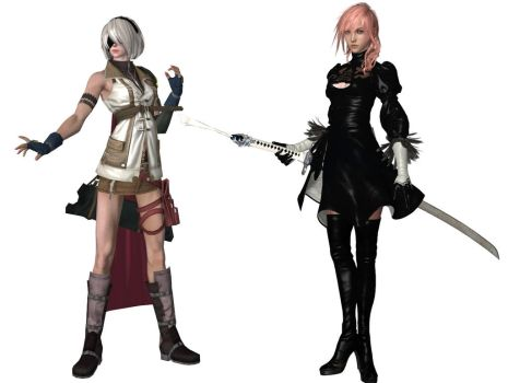Lightning and 2b Cosplaying as eachother by Dante-564