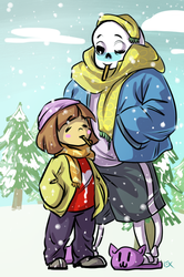 Undertale: Sans and Frisk giftart by Fulcrumisthebomb