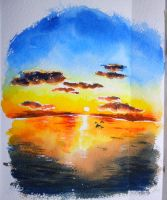 sunset , watercolor by icecream80810