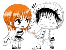 Chibi 05 06 Nami and Luffy by Isayuki