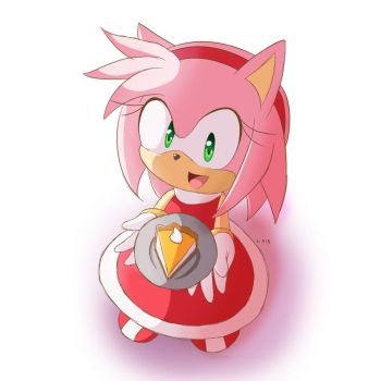 .:Gift:. Amy with cheesecake by Lucky-Sonic-77-d