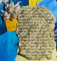 painted daisy+tea-stained poem by objekt-stock