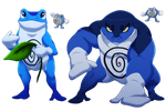 Poliwhirl and Poliwrath- The Soul and Swole frog by blueharuka