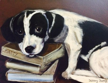 Marty the book loving puppy by JennyJump