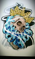 skull and crysthanamum tattoo flash by zack-chiswell