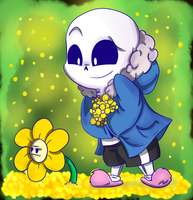 Flowey and Sansy by X-BlackPearl-X
