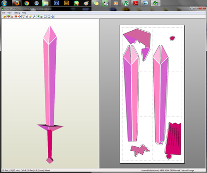 Adventure Time - Fionna's Crystal Sword Papercraft by aiko-chan14