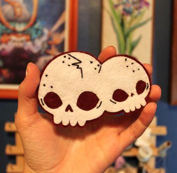 Handsewn Conjoined Skull Patch by loveandasandwich