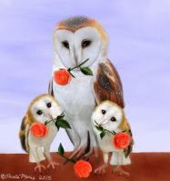 Barn Owl Family With Roses by youlittlemonkey