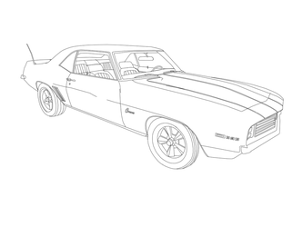 1969 Chevrolet Z28 Camaro SS 396 V8 Drawing (BnW) by MarcusMcCloud100