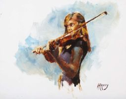 Carrie with Violin by AdamAntaloczy
