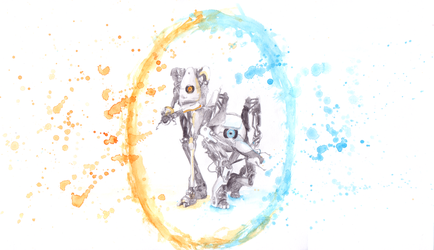 Portal 2 - Atlas and P-Body by RosieFreakish