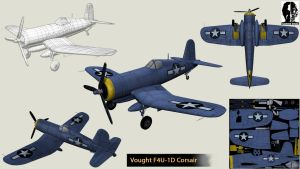 Vought F4U-1D Corsair (Low poly) by Opara