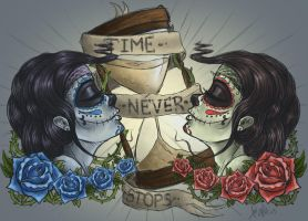 Time Never Stops: tattoo design by RedEyedDemon