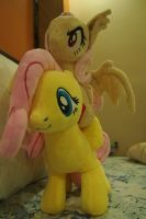 Fluttershy giving her baby sis a ride by Dynasty-Dawn