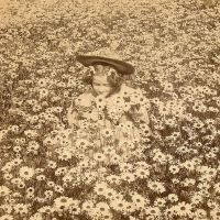 Vintage Girl in Daisy Meadow by HauntingVisionsStock
