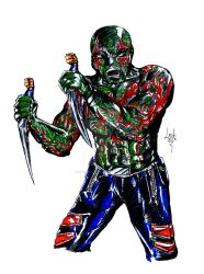 Drax Marker Sketch by Lostiousness