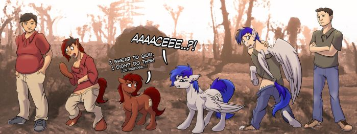 Two guys turn into their Fallout Equestria OCs by tf-sential