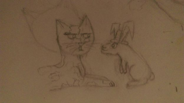 Kitty James And Spaz The Rabbit by 09099aazz