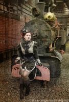 Steamgirl and her little Train by MADmoiselleMeli