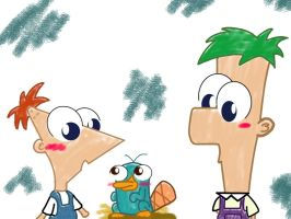 Toddler P and F and Baby Perry by chowder-lover
