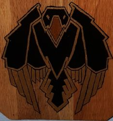 Crow painted on plaque by cyderak