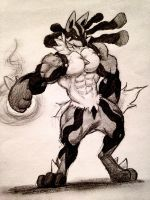 Giga Lucario (muscle up) by tera114