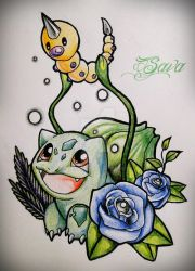Bulbasaur and Weedle by DaSava