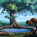 Giant tree around a lake by cold-monster