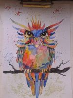 Watercolor owl by vanVoltaire