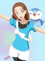 Makoto and Piplup (free hair)
