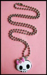 Skully Bow Necklace by cherryboop